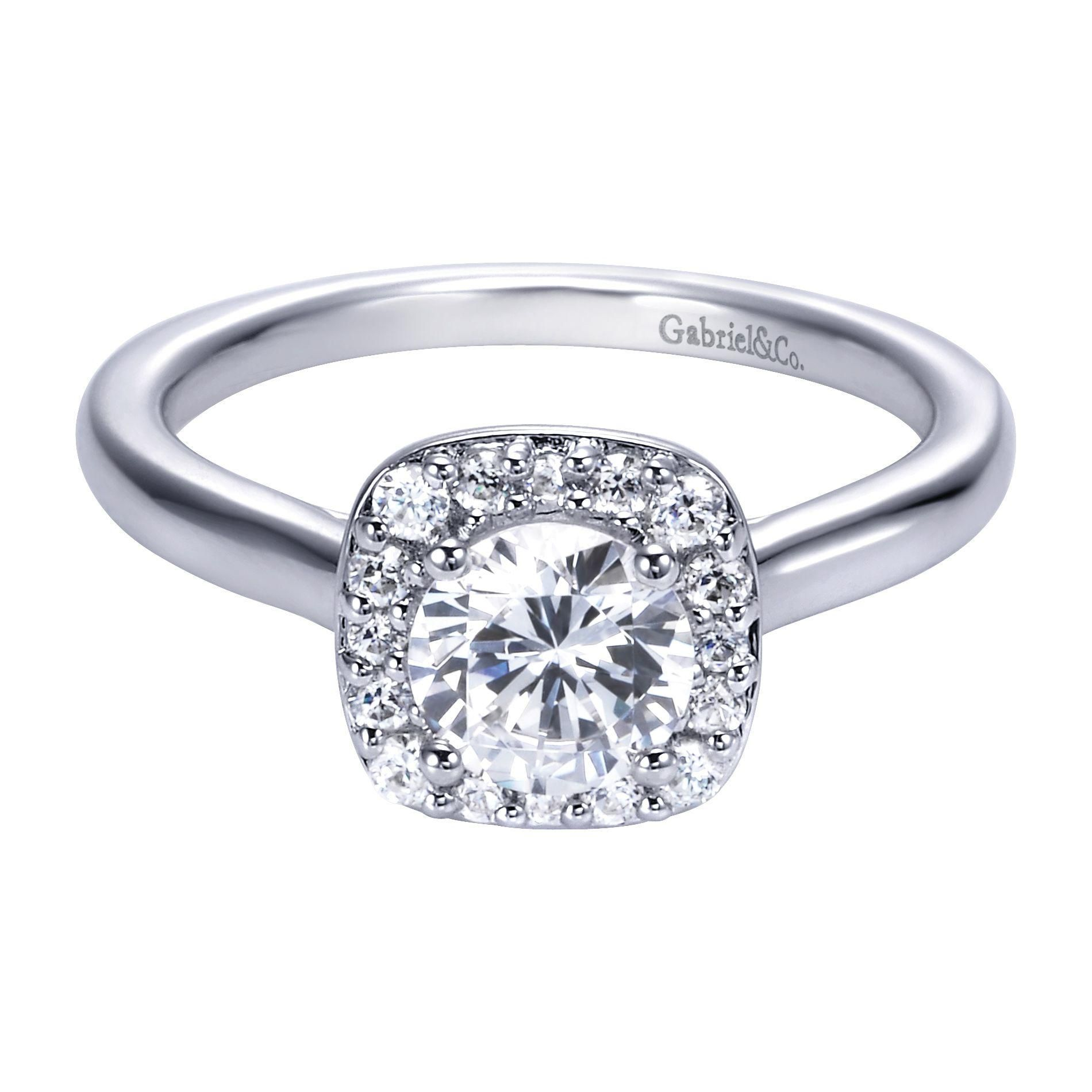 Halo Cathedral Engagement Ring With Plain Band 47