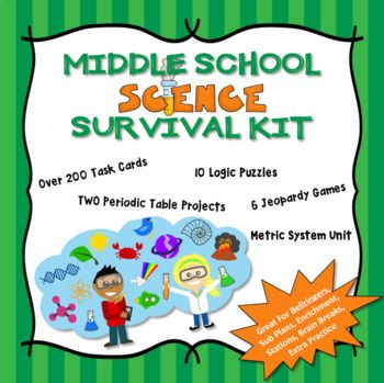 Four of my best selling bundles middle school science task cards six different jeopardy games science logic puzzles and metric system and dimensional analysis plus two periodic table projects students urtaz Image collections