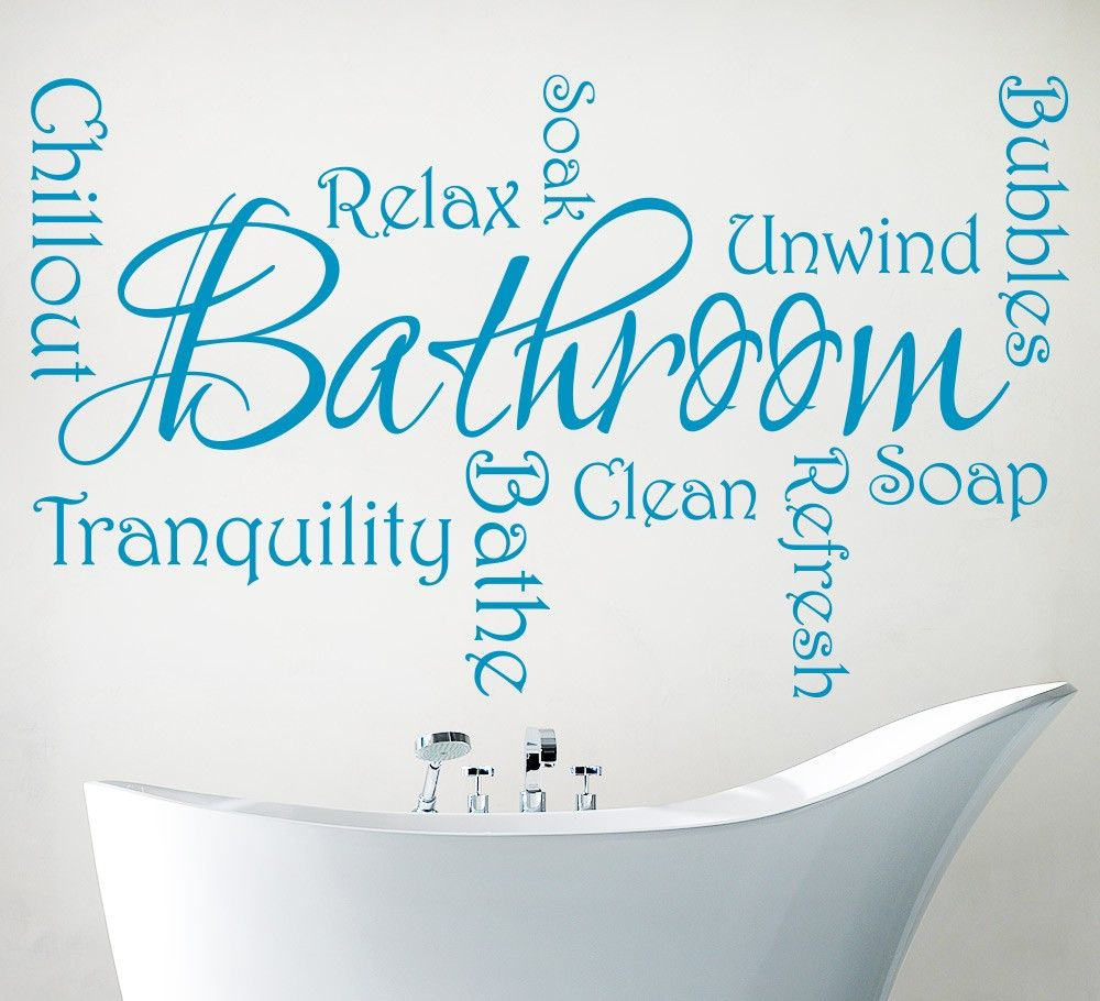 Bathroom Wall Stickers With Relaxing Phrases   Bathroom Wall Art