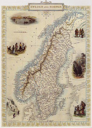 S SWEDEN AND NORWAY STOCKHOLM MAP VINTAGE POSTER REPRO - Norway map amazon