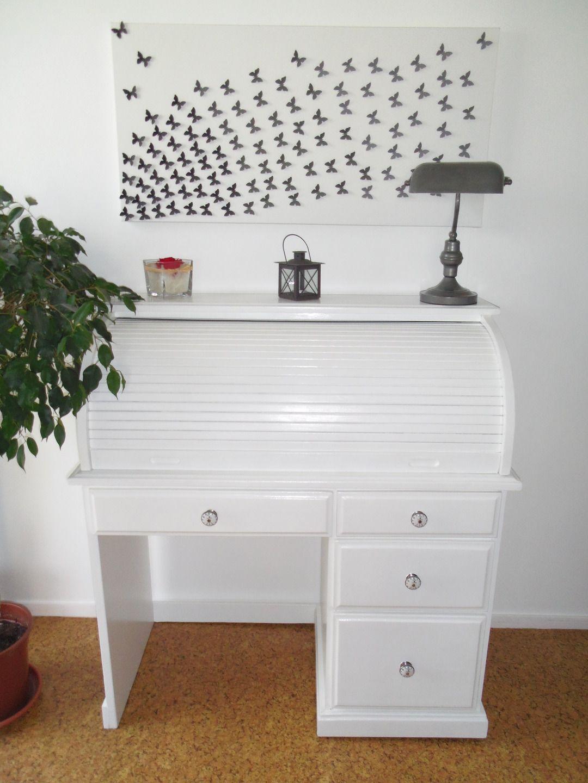 Bureau secr taire blanc avec volet roulant meubles et rangements par ameubl envie ameubl for Bureau secretaire blanc