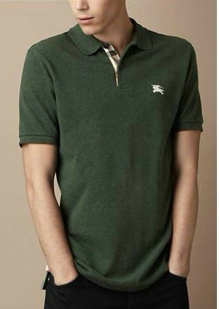 Burberry Men Polo Check Collar T-shirts Darkgreen sale