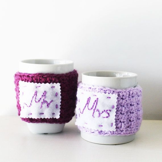 Wedding cup cozies, Mr & Mrs cup cozies, Cute mug warmers, Winter ...