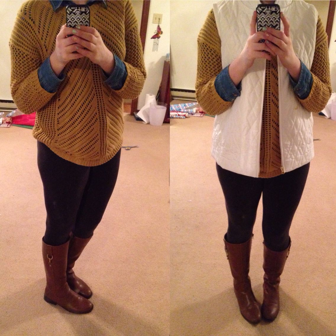 OOTD Sweater: Sam's Club Chambray top: Boscovs Leggings ...