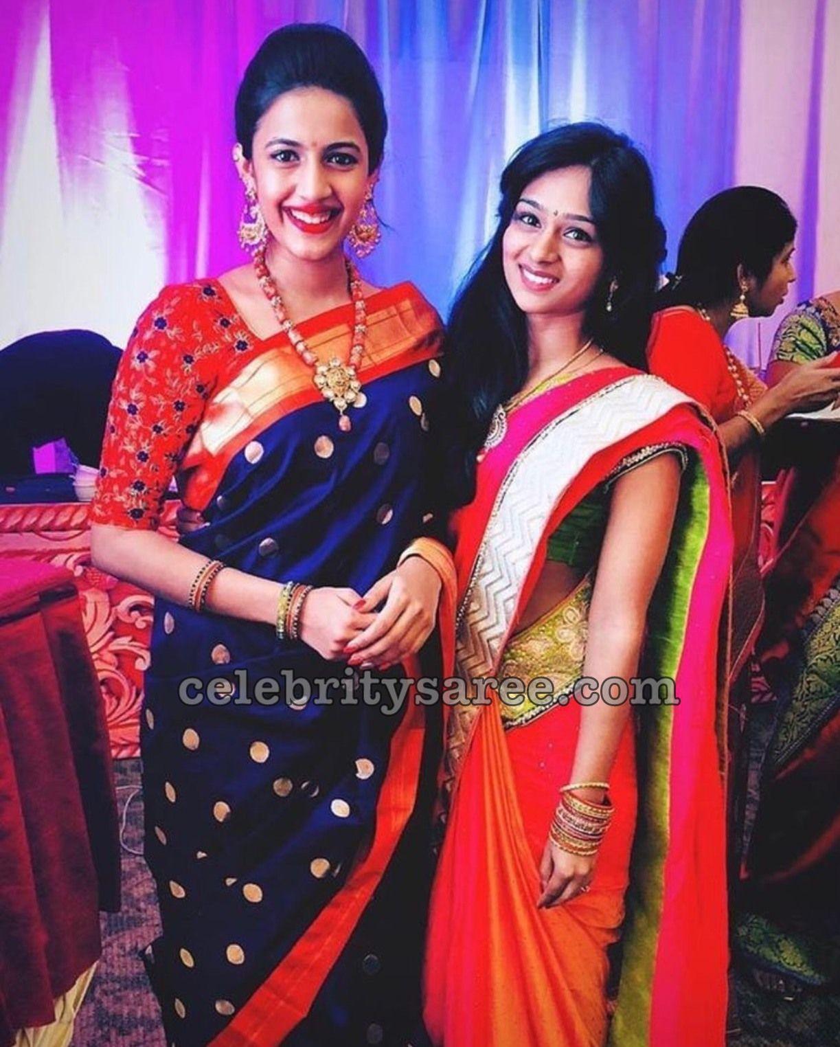 37631c06531de Actress Niharika Konidela looked gorgeous in bright blue traditional silk  saree