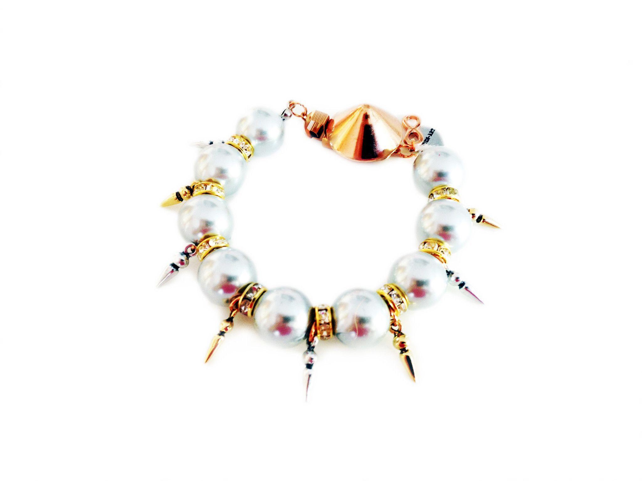 Handmade statement bracelet with light blue pearls swarovski