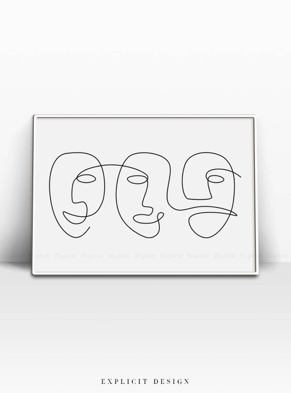 Abstract Carnival Face Printable, One Line Child Like Drawing Print, Black White Artwork, Minimalist Emoji Faces, Luxury Mask Wall Art Decor