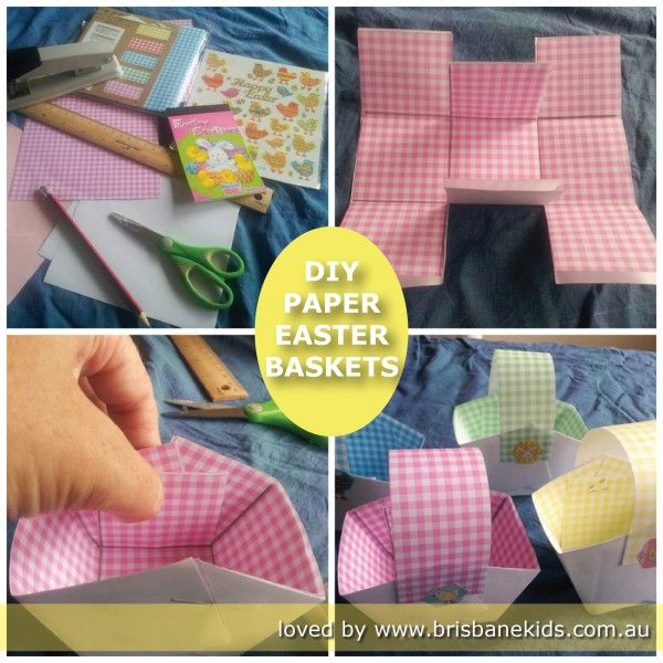 Diy paper easter baskets easter baskets diy paper and brisbane diy paper easter baskets brisbane kids make your own easter baskets at home crimp paper and cut in strips for grass in basket negle