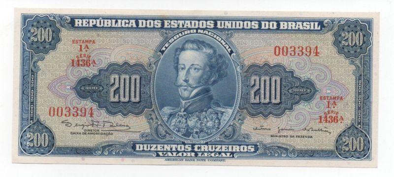 Banknote Brazil 200 Cruzeiros 1964 Pick 171 C Aunc Unc Look