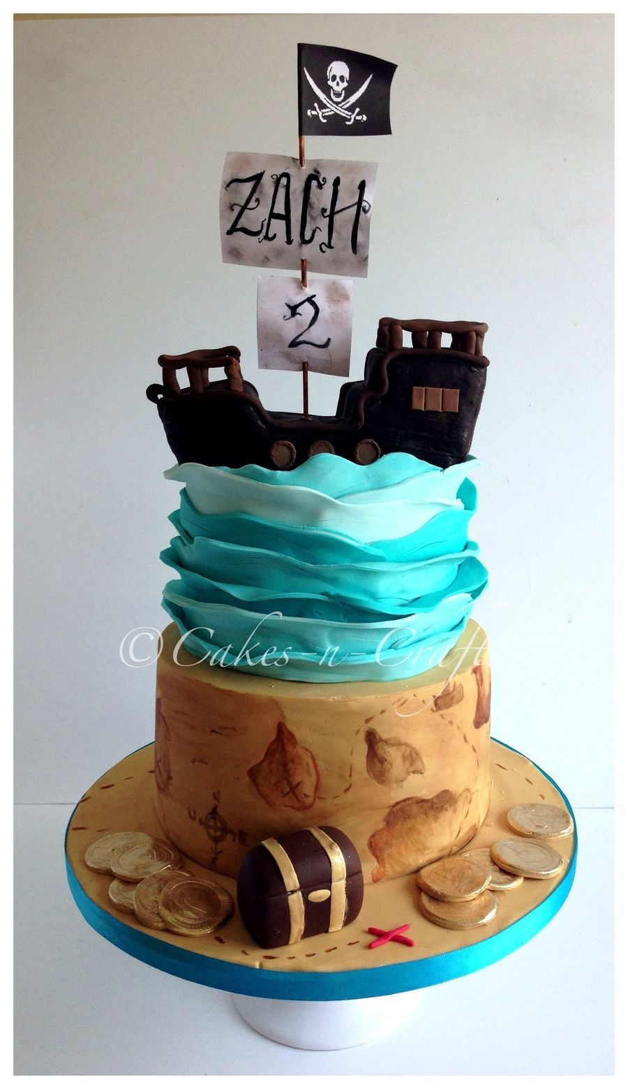 Edible Cake Images Pirate : 2 tier pirate cake with edible pirate ship Birthday ...