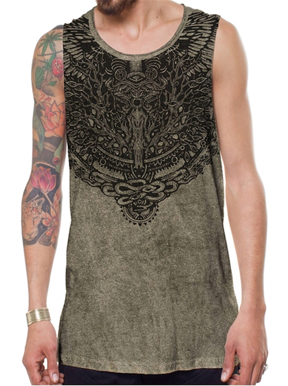 Men's Bohemian Sleeveless Shirt, Black Boho Man Tank Top, Gold Printed Shirt, Man's Tribal Shirt, Burning Man Festival Wear, Man's Tank Top