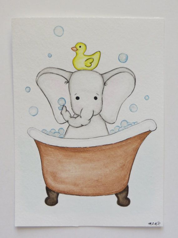 Watercolor Painting Elephant In Tub Animal Painting By Waterblooms