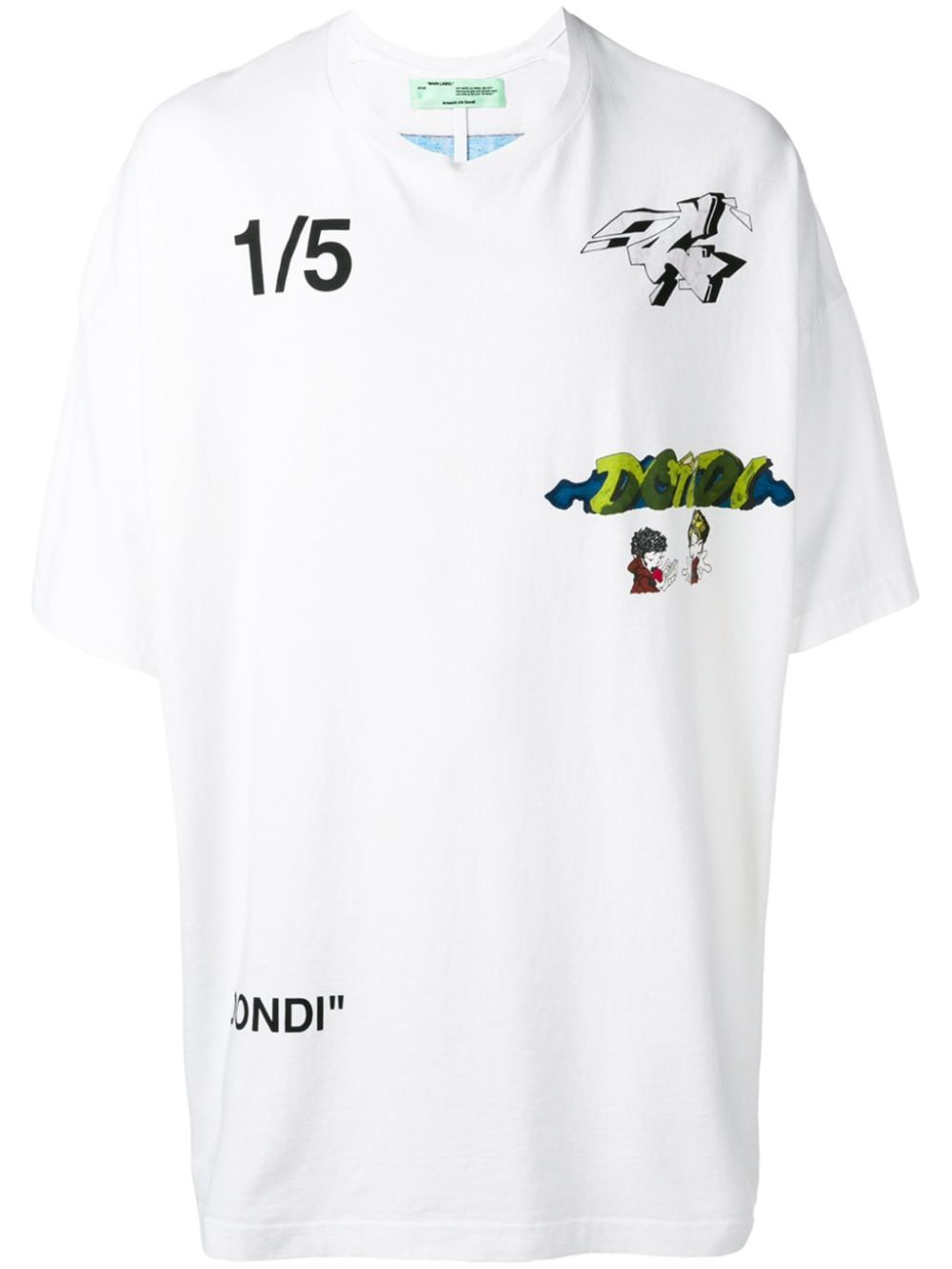 Off White T Shirt Mit Dondi Print Weiss T Shirt Tee Shirts