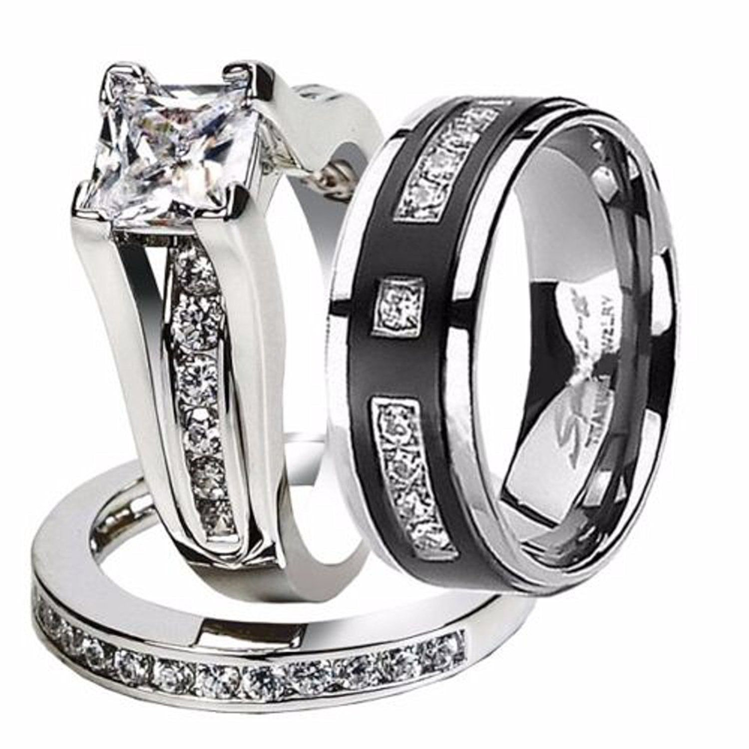 Hers And His Stainless Steel Princess Wedding Ring Set Anium Band Tried