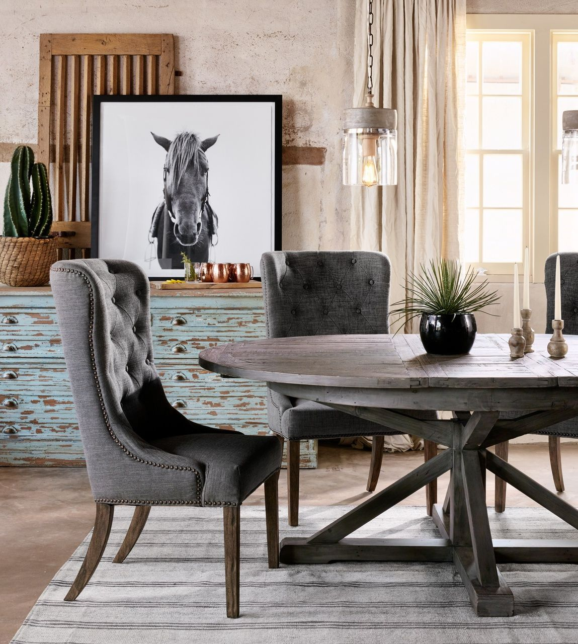 round kitchen table Beach Home Cintra Reclaimed Wood Extending Round Dining Table 63 GRAY https