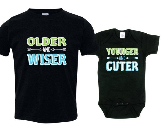 bdf8f2ad5 Big brother little brother shirts matching sibling shirts, Older and Wiser  and Younger and Cuter, OW