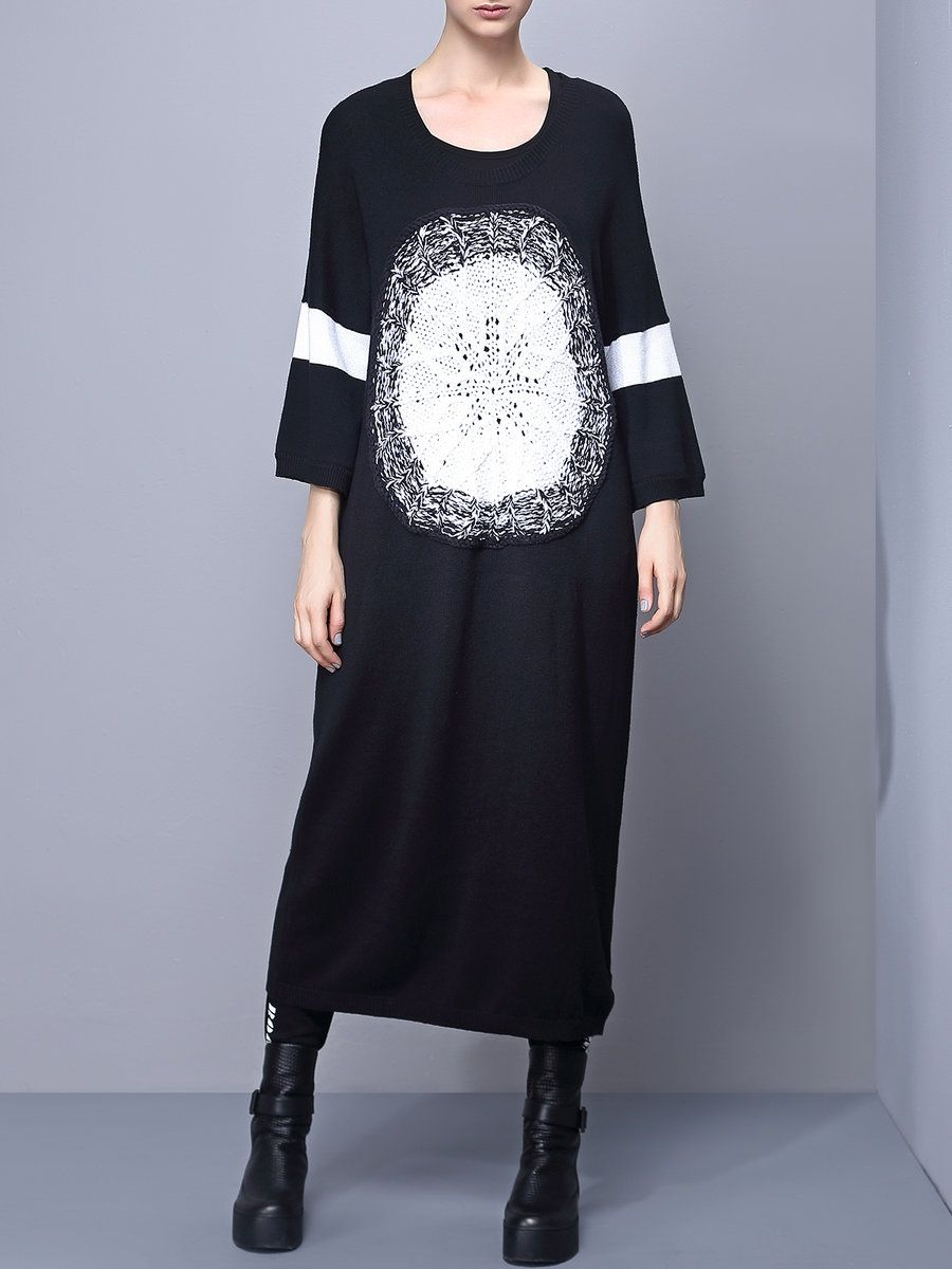 Odbo black knitted hline casual sweater dress casual midi