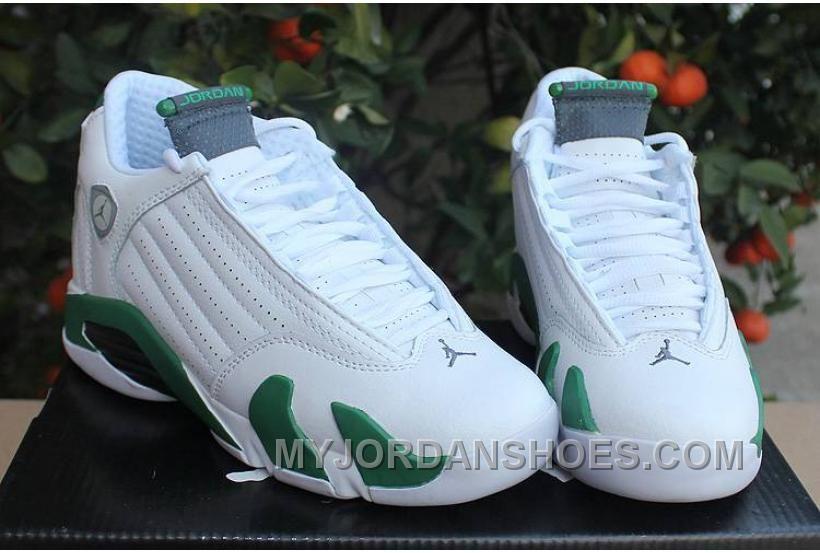 Jordan 14 Retro White Forest Green GS