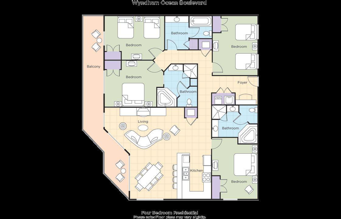Wyndham Bonnet Creek 10 Bedroom Floor Plan  Bedroom floor plans
