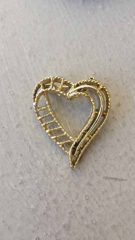 e24da564356 1980s Signed Gerrys Gold Heart Brooch Scarf Lapel Pin, Small Valentine Heart  Gold Brooch Pin Jewelry, Valentine's Day Brooch Jewelry Pin by  TheFoxandFilly ...