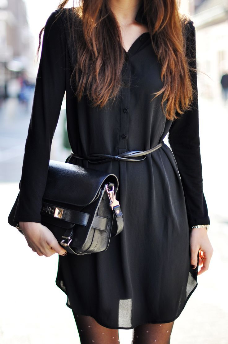 Classic black- Sheer black button up dress with thin leather belt ...