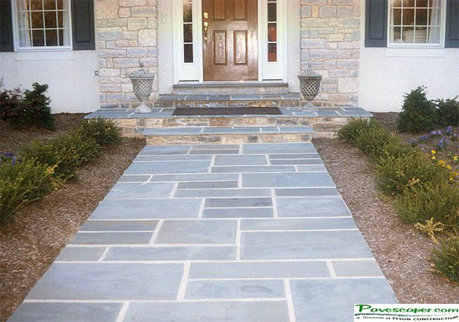 Blue Stone And Red Brick Patio Interlocking Pavers Patios Paver Walkways Paver Sidewalks Paver Patio Stones Bluestone Patio Paver Stone Patio