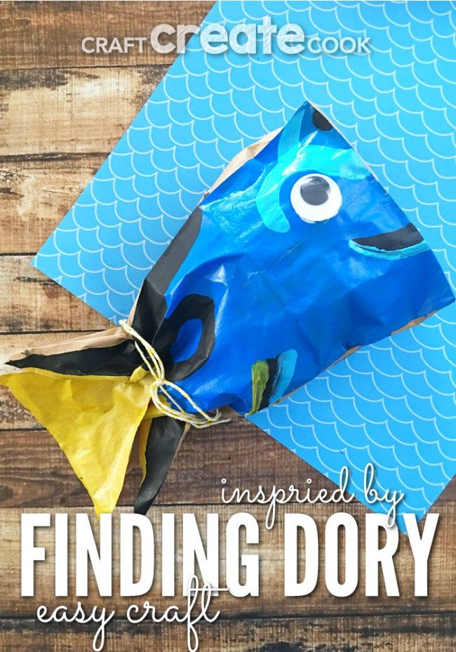 Finding dory paper bag craft recipe crafts kid and we for Finding dory crafts for preschoolers