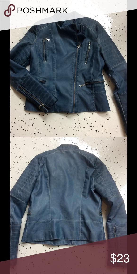 Faux leather Moto jacket Super cute light blue Moto jacket in faux leather. No flaws! Jou Jou Jackets & Coats