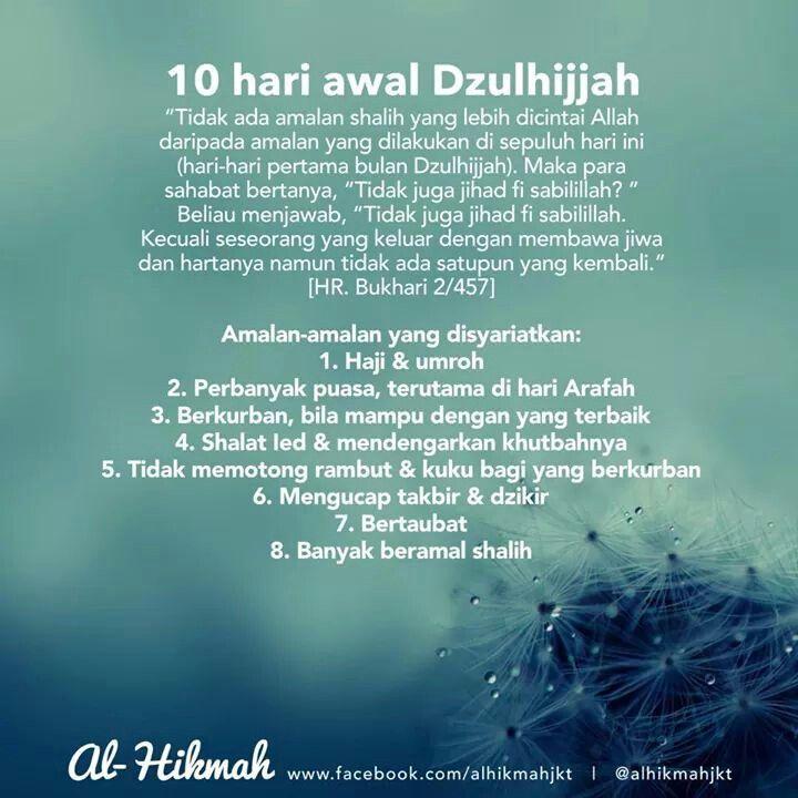 10 Hari Awal Dzulhijjah Bijak Sembahyang Cinta Allah