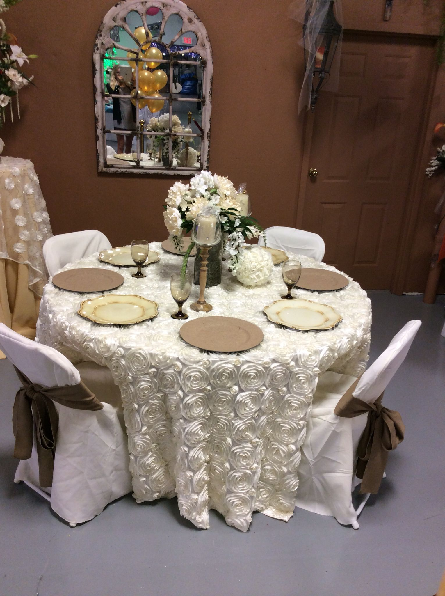 A Romantic Country Look Ivory Rosette Floor Length Linen Burlap Chair Covers Contact Www Asplayzone C Burlap Chair Covers Bounce House Rentals Chair Covers