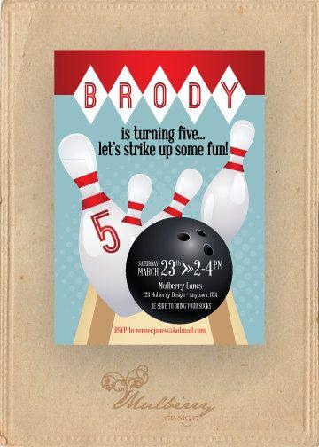 Custom Bowling Birthday Invitation  X  Diy By Mulberrydesign