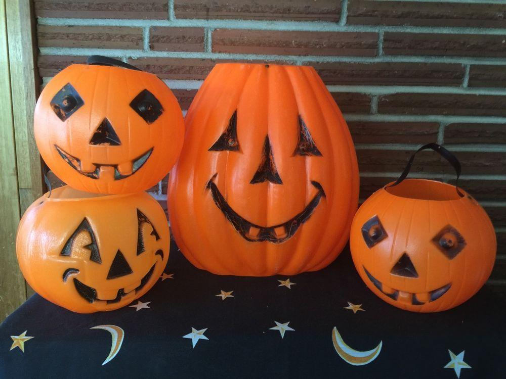 HALLOWEEN Pumpkins Candy Holder Buckets Blow Mold Jack O' Lanterns Plastic Lot 4