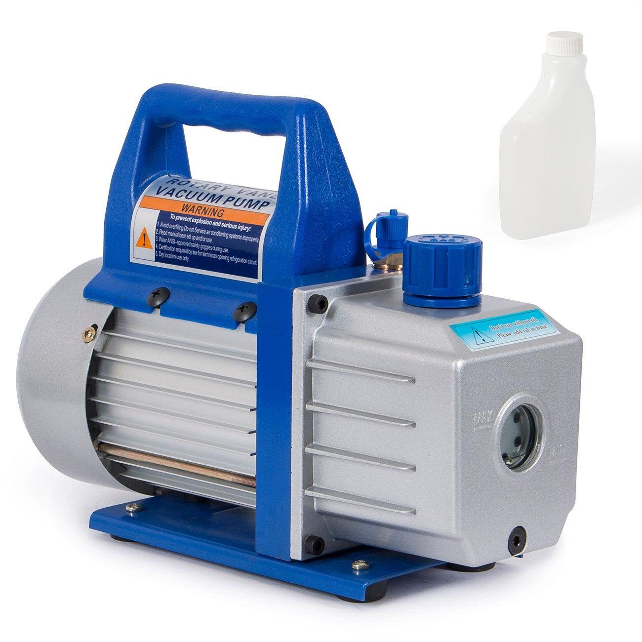 Arksen Rotary Vane Deep Vacuum Pump, 110v, 1/3HP, 4 CFM, Silver