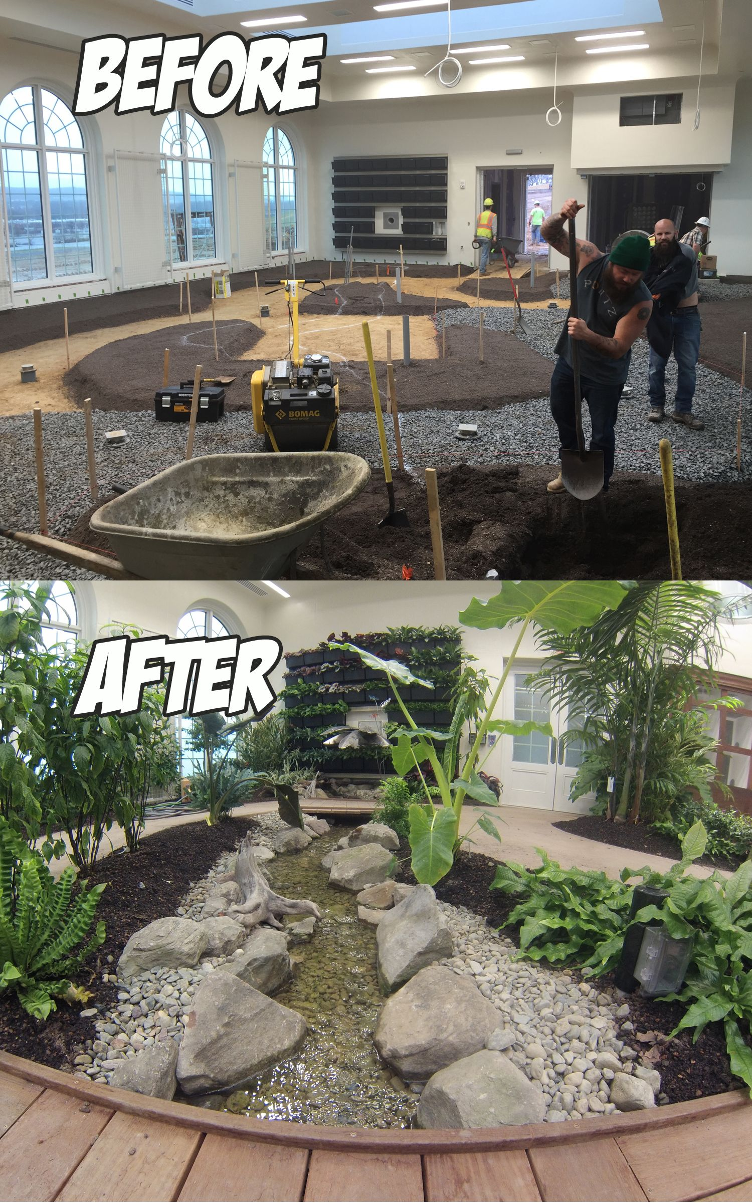 Indoor Water Feature At Hershey Conservatory Before After