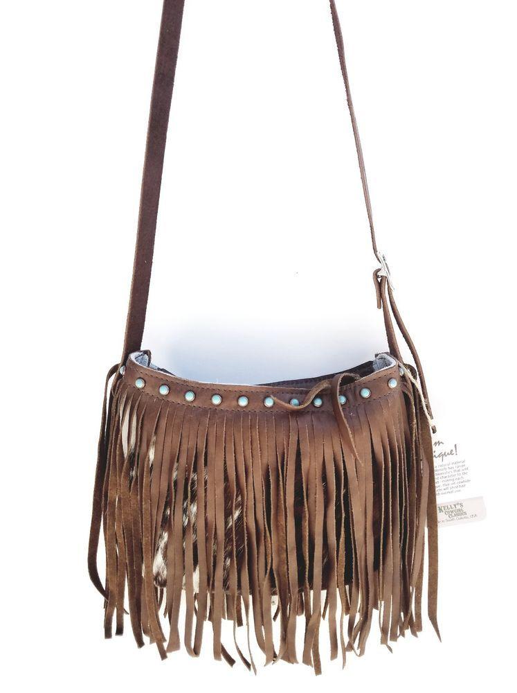a6371f3c6 Western Leather RODEO Bag Cross Body Purse w/ Fringe & Cowhide K Bar J SF3  | eBay