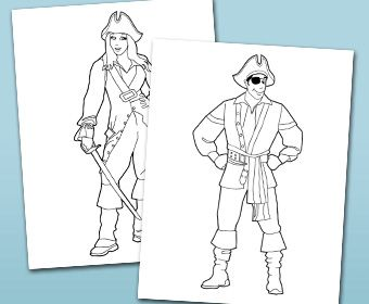 3 Pirate Coloring Pages. Pirate Girl, Pirate Boy And Pirate Hook.Click On