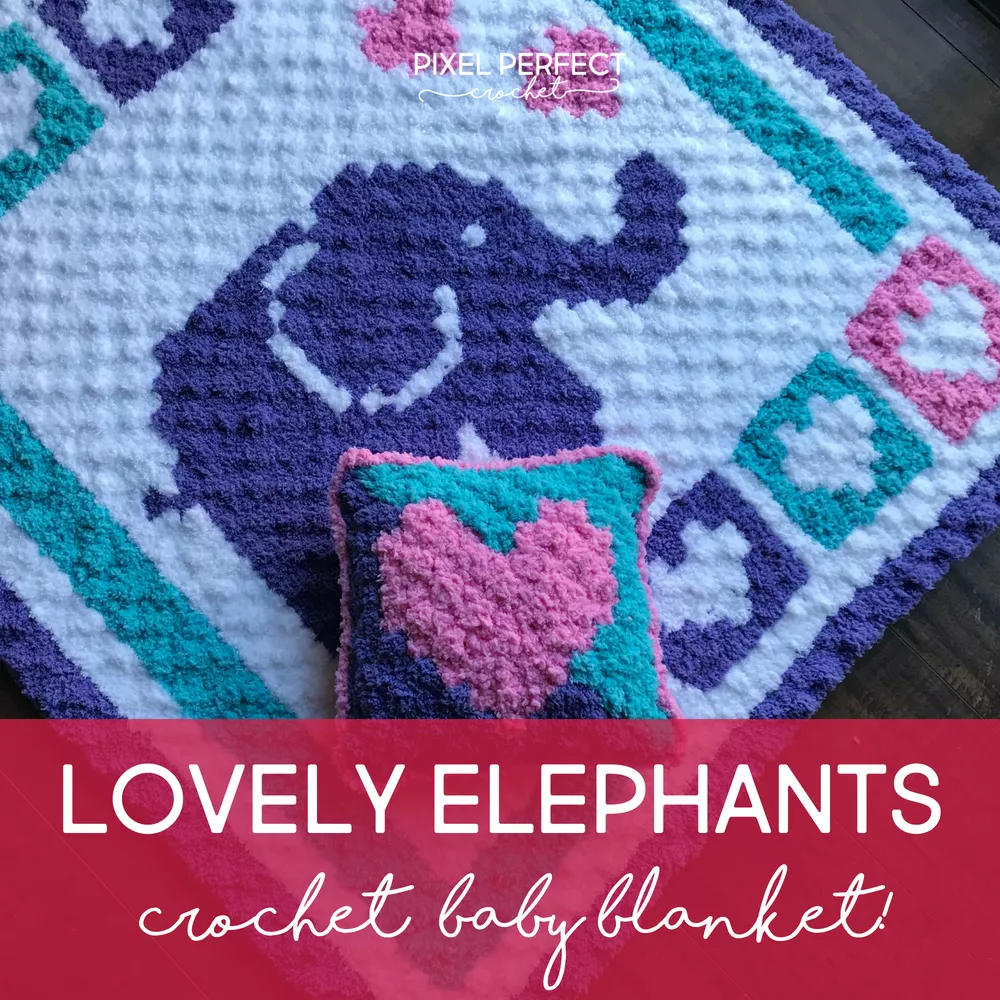 Lovely Elephants Crochet Baby Blanket #c2cbabyblanket