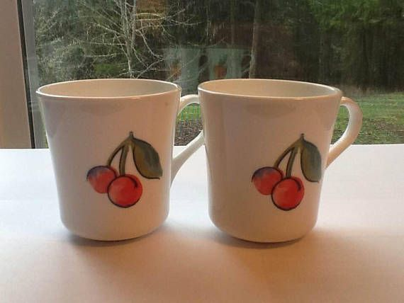 "Two Corelle by Corning ""Fruit Basket"" Cup Coffee Mugs"
