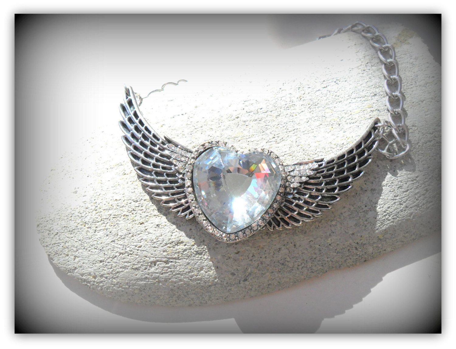 Quirky Angel Wing Large Heart Diamond Diamante Necklace by SimplyPrettyJewels on Etsy