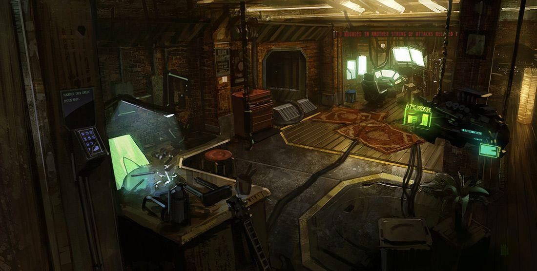 1100x556 2020 zoey s loft 2d sci fi environment room for Cyberpunk interior design