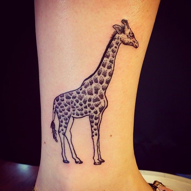 bf28f4179 Finally got in my Stipple-Giraffe. Love it, thanks Kristina!  #upstatetattooco #okeefeink #tattoo #giraffe #ankle #stippling #elegant  #girly #cute #tiny ...
