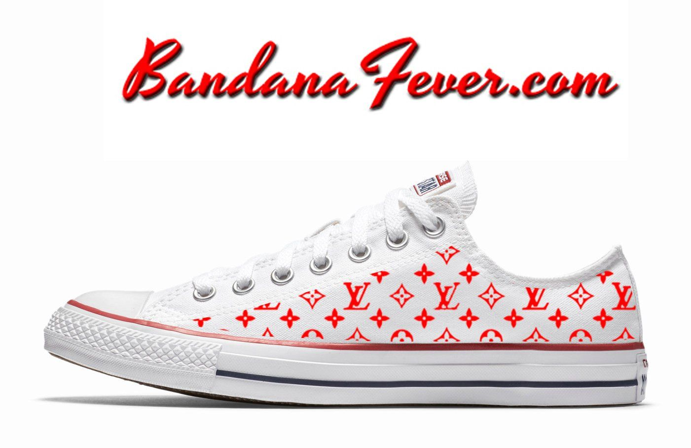 26056343dfb1 Custom Supreme LV Red Monogram Converse Shoes Low White