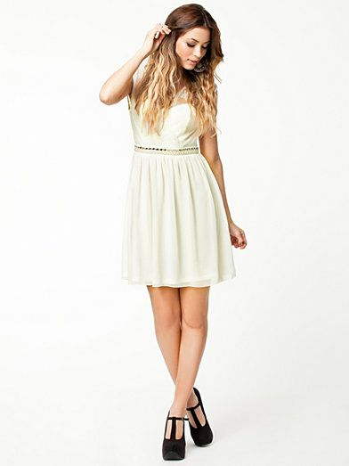 Open Back Lace Dress - Elise Ryan - Ivory - Festklänningar - Kläder - Kvinna - Nelly.com