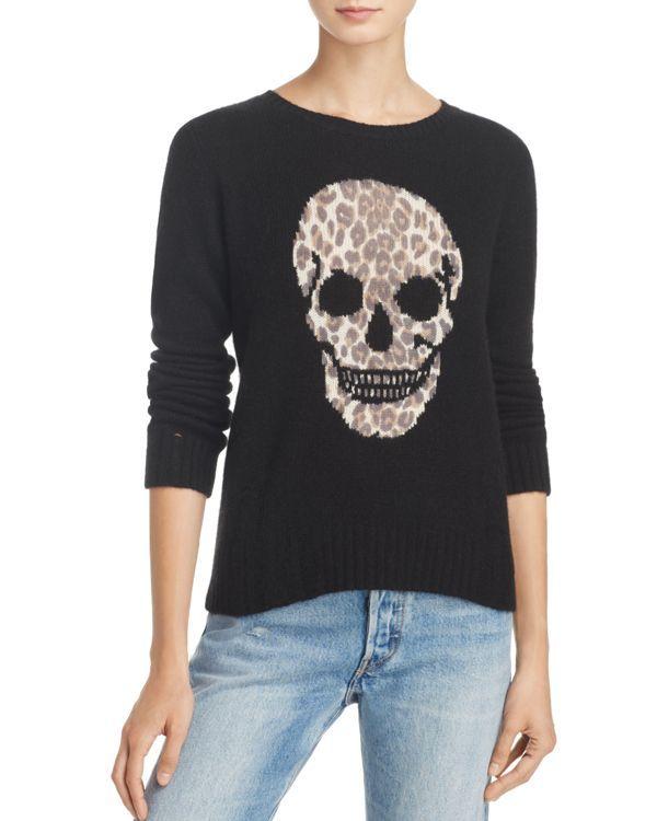 3d385b45477 Aqua Cashmere Leopard Distressed Skull Sweater - 100% Exclusive ...