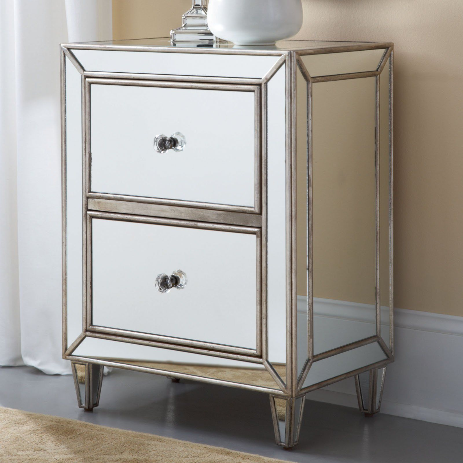 Distressed Mirrored Furniture Mirrored Nightstand The Super Best