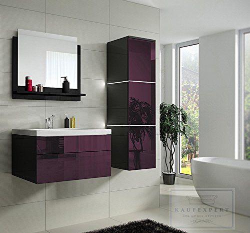 Bathroom Furniture Set High Gloss Aubergine Black Led Lighting Purple Modern 1