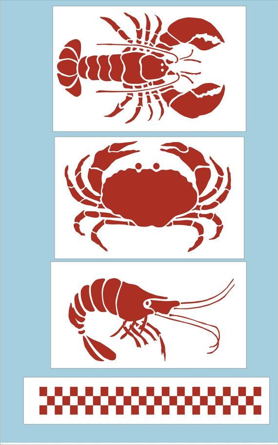 Crab Lobster And Shrimp Stencil With By SuperiorStencils On Etsy 1950