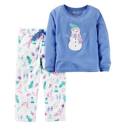 28e846afb Toddler Girl Carter s Fleece Top   Pants Printed Pajama Set