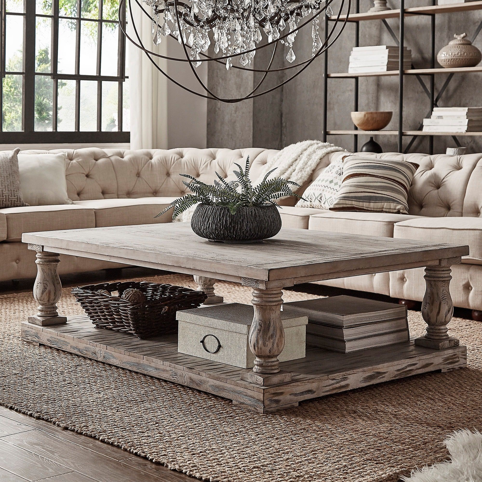 Edmaire Rustic Baluster 60inch Coffee Brown Table by iNSPIRE Q