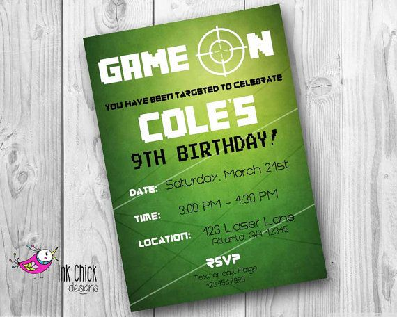Laser Tag Birthday Invitation Laser Tag Party Video Game Party